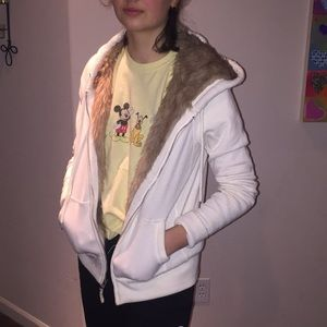 White fur lined American eagle jacket